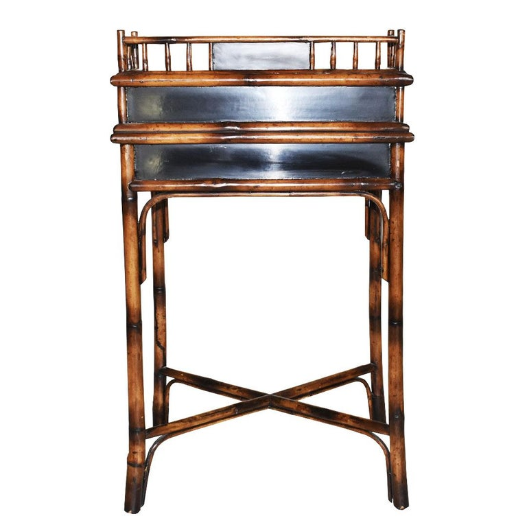 English Chinoiserie Faux Tortoise Bamboo Japanned Desk or Writing Table, 1800s, England For Sale