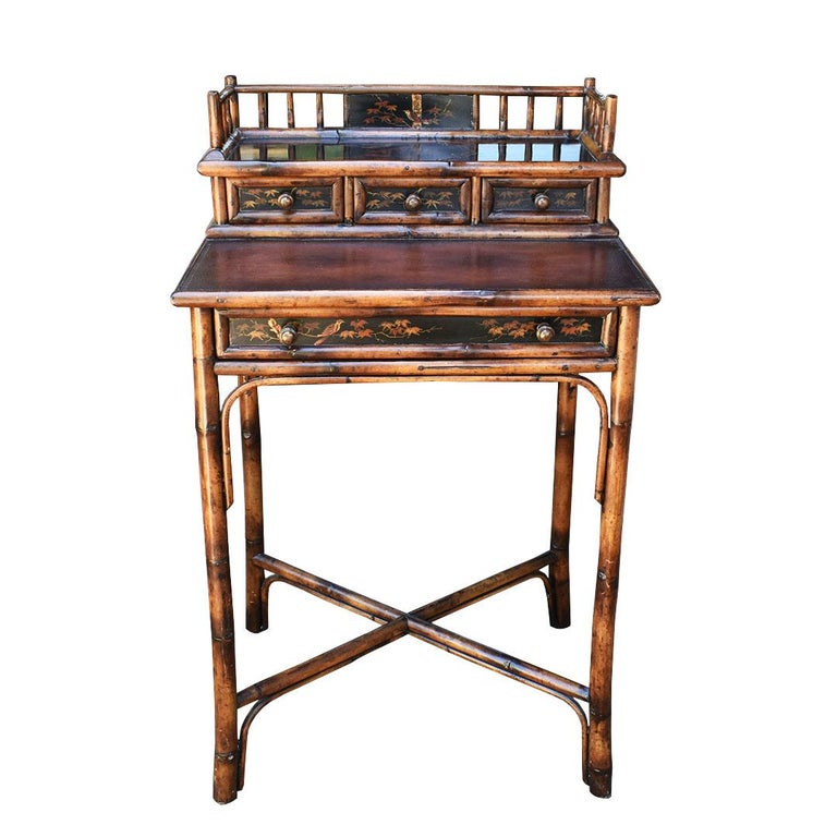 Chinoiserie Faux Tortoise Bamboo Japanned Desk or Writing Table, 1800s, England In Good Condition For Sale In Oklahoma City, OK