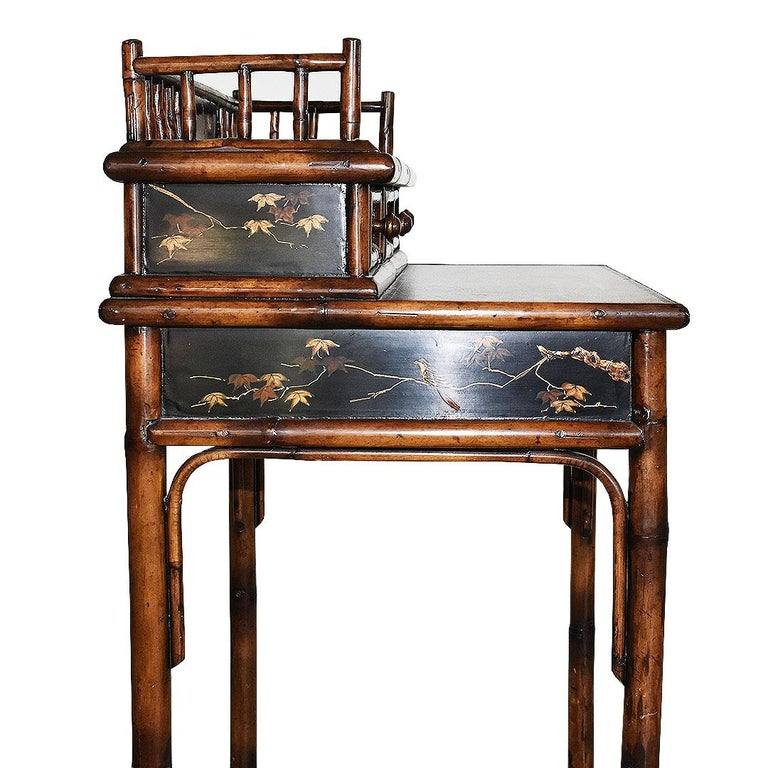 19th Century Chinoiserie Faux Tortoise Bamboo Japanned Desk or Writing Table, 1800s, England For Sale