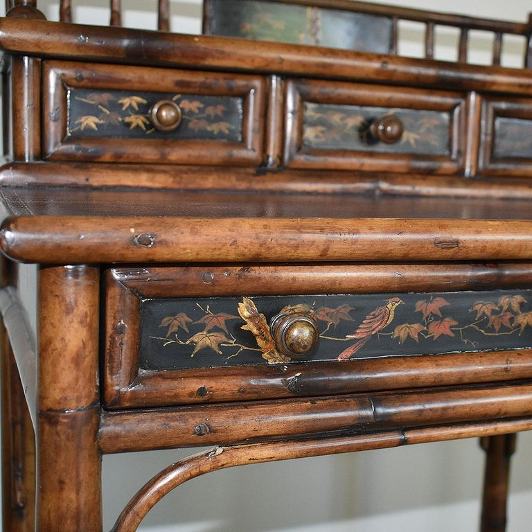 Wood Chinoiserie Faux Tortoise Bamboo Japanned Desk or Writing Table, 1800s, England For Sale