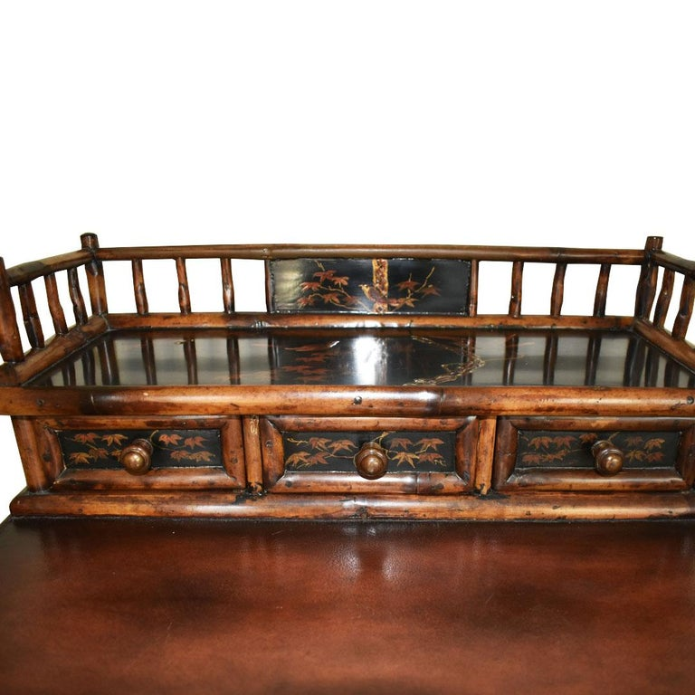 Chinoiserie Faux Tortoise Bamboo Japanned Desk or Writing Table, 1800s, England For Sale 1