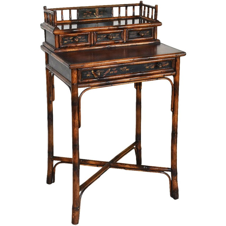 Chinoiserie Faux Tortoise Bamboo Japanned Desk or Writing Table, 1800s, England For Sale