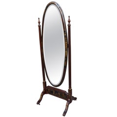 Chinoiserie Floor/ Length Mirror with Hand Painted Decor on Mahogany Frame