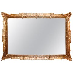 Chinoiserie Gilt Gold Brutalist Style Wall Mirror with Faux Bamboo Pagoda Design