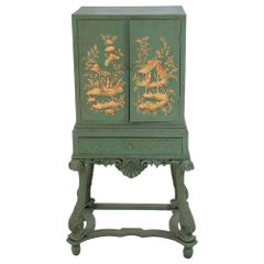 Chinoiserie Green Highboy Cabinet with Gold Painted Pastoral Scenes