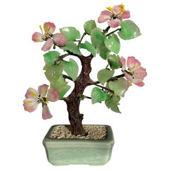 Chinoiserie Green Jade and Pink Rose Quartz Faux Bonsai Gem Tree in Celadon Pot