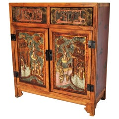 Chinoiserie Hand Carved and Paitned 2 Drawers Cupboard