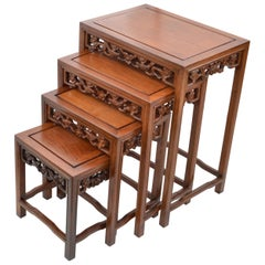 Chinoiserie Hand Carved Asian Wood Nesting Tables or Stacking Tables, Set of 4