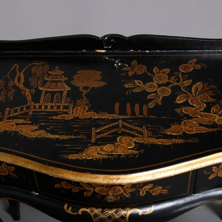 European Chinoiserie Hand Painted and Gilt Pictorial Ebonized Single Drawer Console Table For Sale