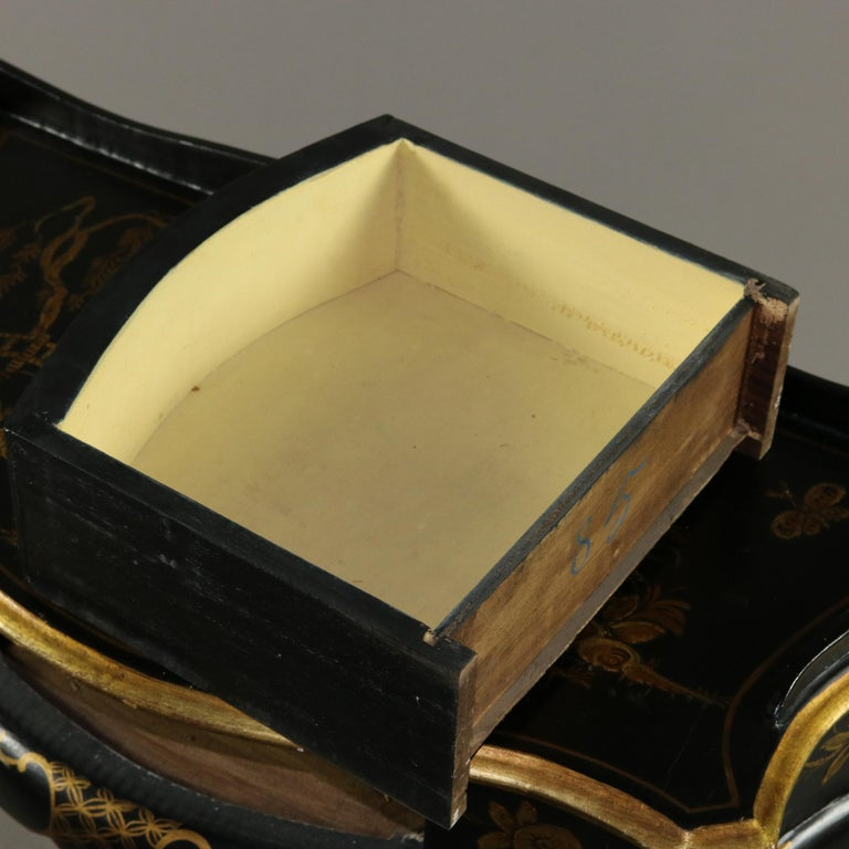Chinoiserie Hand Painted and Gilt Pictorial Ebonized Single Drawer Console Table For Sale 1