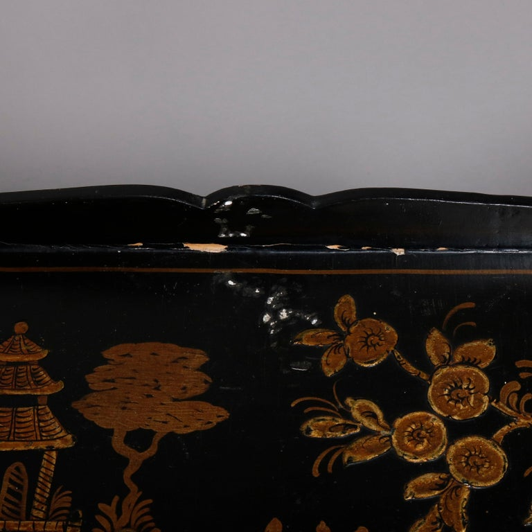 Chinoiserie Hand Painted and Gilt Pictorial Ebonized Single Drawer Console Table For Sale 2