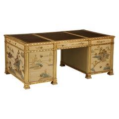 Chinoiserie Hand-Painted Parcel Gilt Partners Pedestal Desk