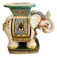 Chinoiserie Hand Painted Porcelain Elephant Garden Stool Seat Drinks Table