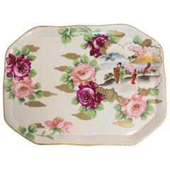 Chinoiserie Hand Painted Porcelain Plate or Tray, Late 19th Century