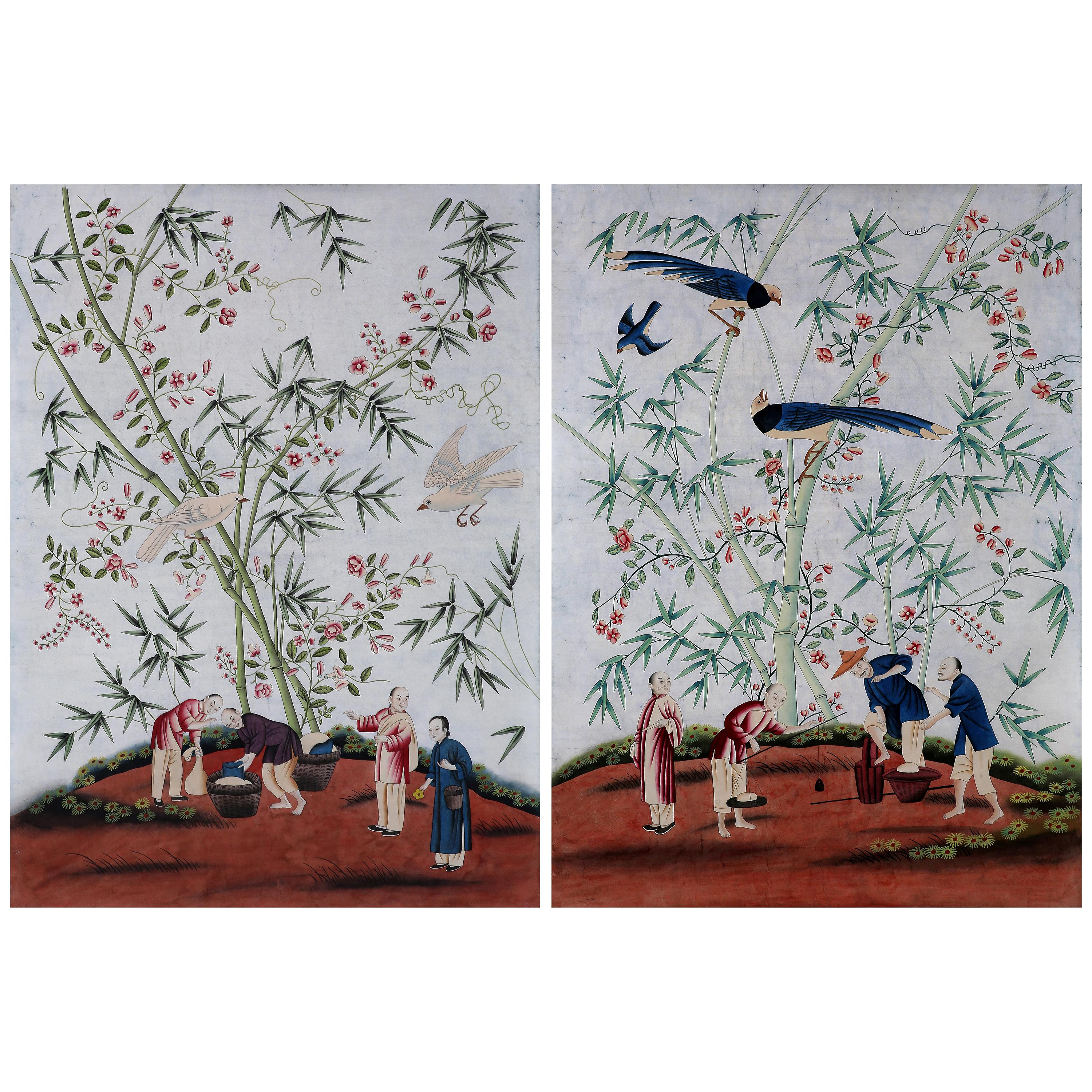 Chinoiserie Hand Painted Wallpaper Panels of Bamboo Grove