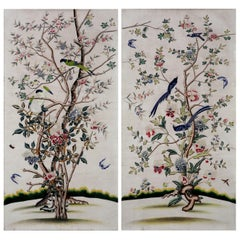 Chinoiserie Hand Painted Wallpaper Panels of Birds and Blossoms