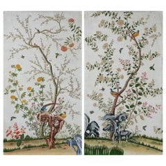 Chinoiserie Hand Painted Wallpaper Panels of Birds and Spring Blossom