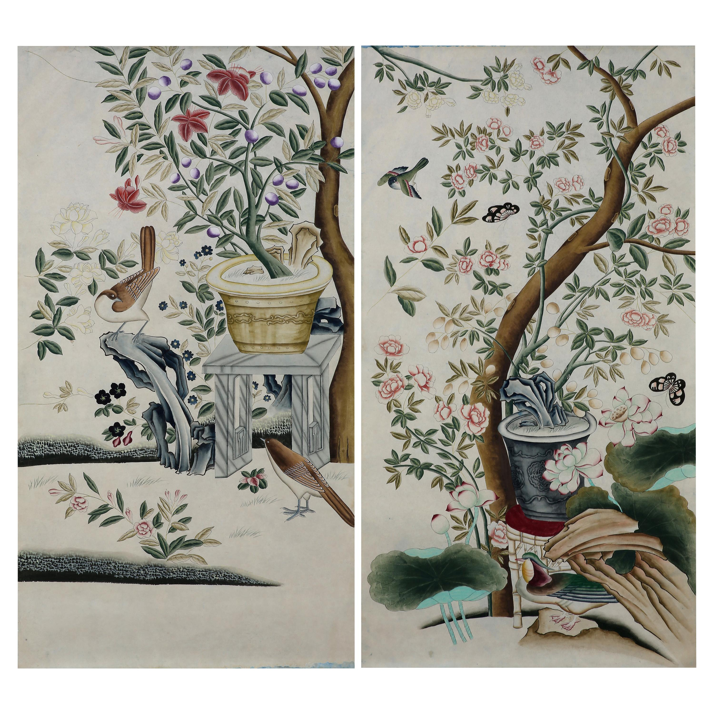 Chinoiserie Hand Painted Wallpaper Panels of Birds in a Garden Setting