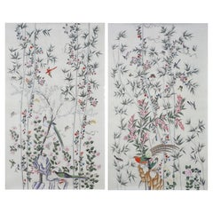Chinoiserie Hand-Painted Wallpaper Panels of Birds in a Garden Setting
