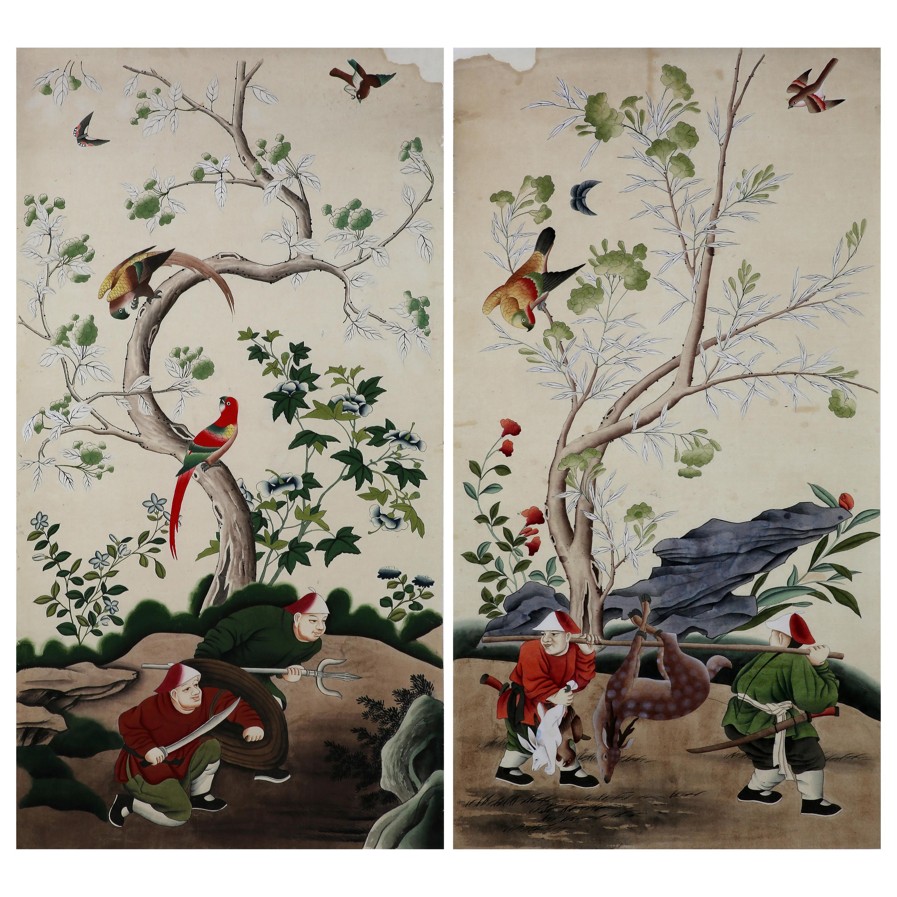 Chinoiserie Hand Painted Wallpaper Panels of Hunting Scenes