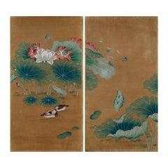 Chinoiserie Hand-Painted Wallpaper Panels of Lotus Pond and Mandarin Ducks