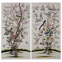 Chinoiserie Handpainting of Export Wallpaper Panels with Trees, Flowers & Birds