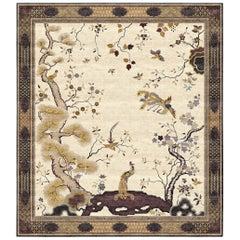 Bronzefarbene handgeknüpfte Seidenteppiche mit Phönix-Chinoiserie, Erbstück