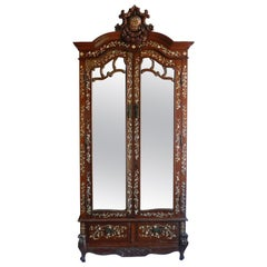 Chinoiserie Inlaid Armoire 19th Century Chinese Mirror Door Wardrobe