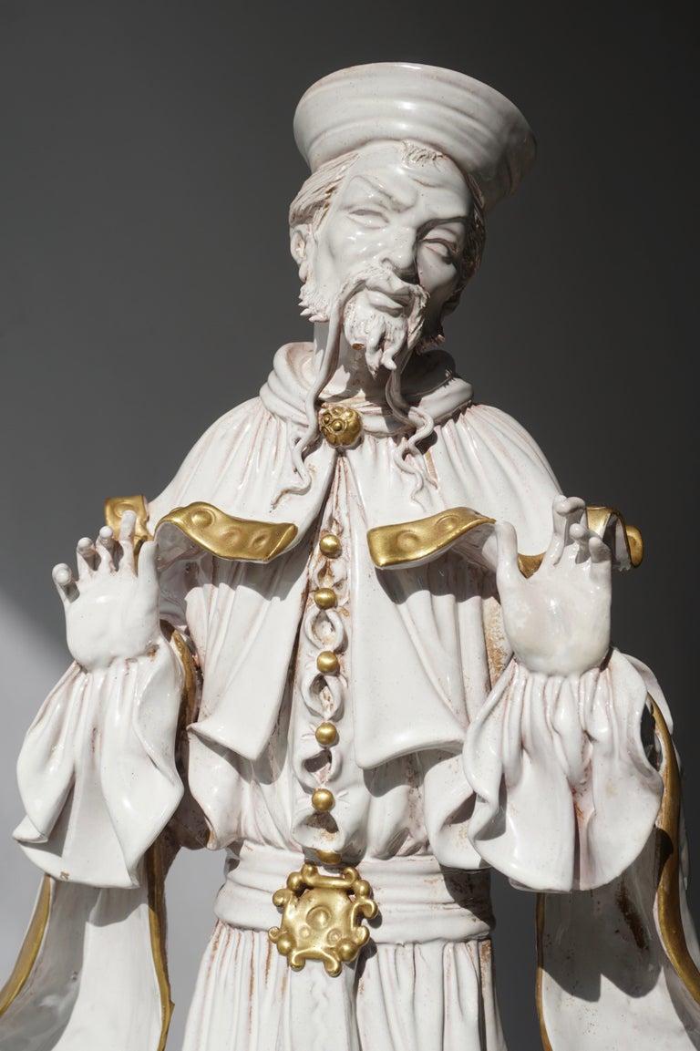 Hollywood Regency Italian Porcelain Figure by Batiguani For Sale