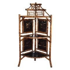 Chinoiserie Japanned English Pagoda Bamboo Standing Corner Shelf or Etagere