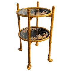 Chinoiserie Japanned Faux Tortoise Burnt Bamboo Drink Tray Table with Bird Motif