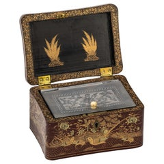 Chinoiserie Lacquer Tea Caddy Box