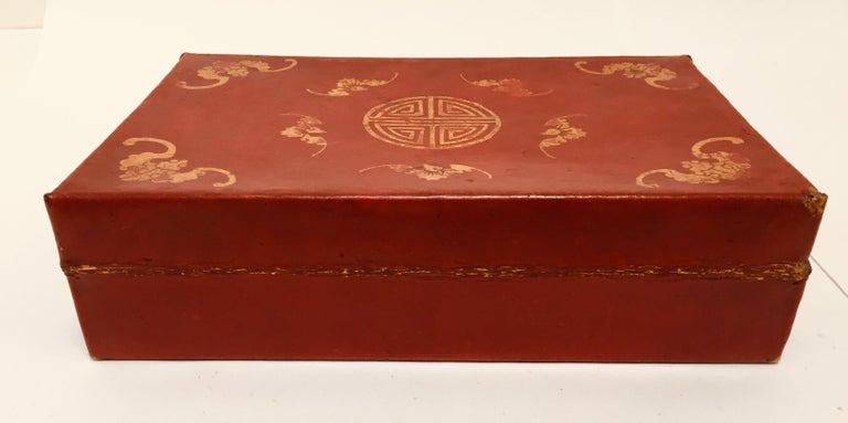Chinoiserie Leather Red and Gilt Hand Painted Box For Sale 5