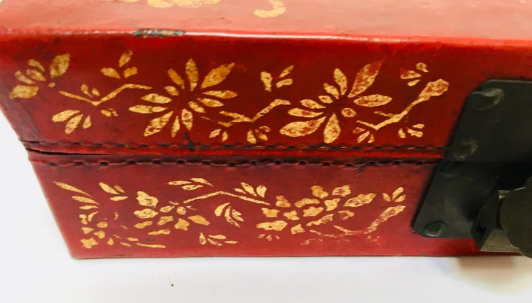 Chinoiserie Leather Red and Gilt Hand Painted Box For Sale 9
