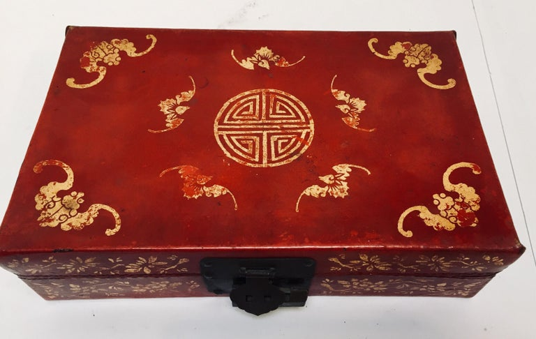 Chinoiserie Leather Red and Gilt Hand Painted Box For Sale 11