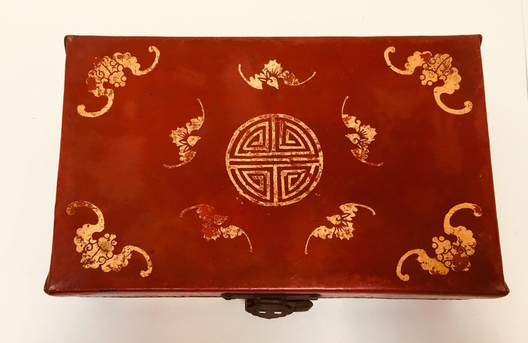 Chinese Chinoiserie Leather Red and Gilt Hand Painted Box For Sale