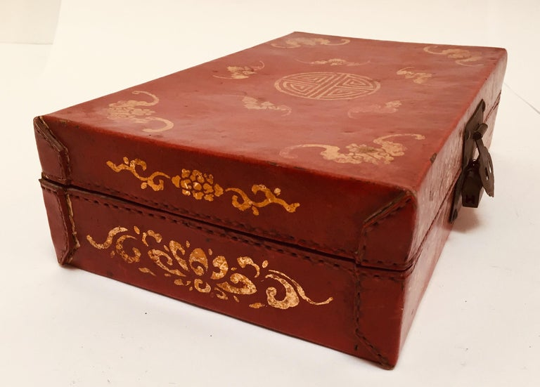 Chinoiserie Leather Red and Gilt Hand Painted Box For Sale 1