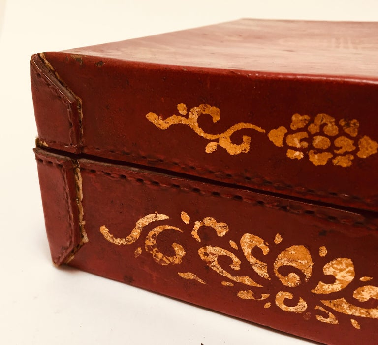 Chinoiserie Leather Red and Gilt Hand Painted Box For Sale 2