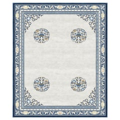 Floating Lotus Cloud Grey Hand-Knotted Wool and Silk 2.5 x 3.0m Rug