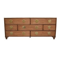 Chinoiserie Light Wood Dresser or Sideboard with Brass by Baker Furniture