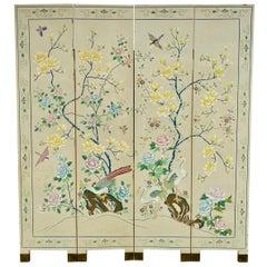 Chinoiserie Magnolia Tree of Life and Crane Bird Floor Screen Divider