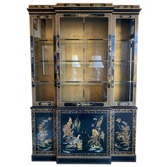 Chinoiserie Japanned Black Laquer Lighted China Cabinet Breakfront