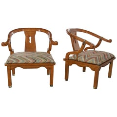 Chinoiserie Ming Style Pair of Yoke Back Lounge Chairs Attributed to Schnadig