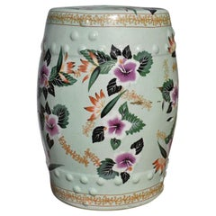 Chinoiserie Mint Green Ceramic Garden Stool with Floral Design