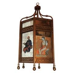 Chinoiserie Octagonal Mirrored Reverse Hand-Painted Gold Gilt Lantern Pendant