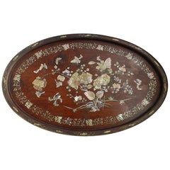 Chinoiserie Oval Tray Wood Inlaid Butterflies Flowers late 19th Century