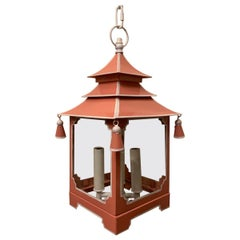 Chinoiserie Pagoda Salmon Pink and White Enameled Glass Lantern Fixture