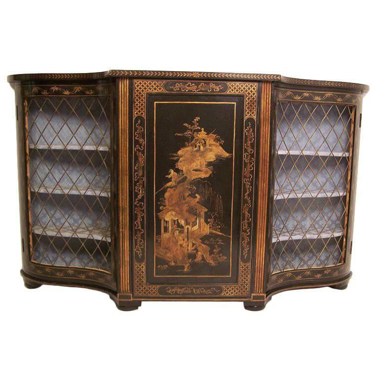 Chinoiserie Painted and Gilt Console Cabinet with Bronze Grates