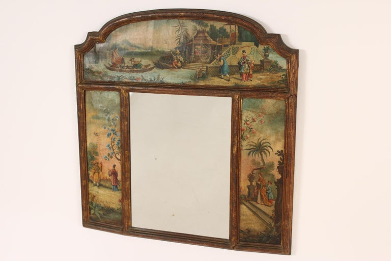 Chinoiserie Painted Italian Mirror In Fair Condition For Sale In Laguna Beach, CA