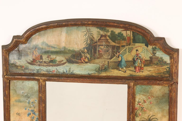 19th Century Chinoiserie Painted Italian Mirror For Sale